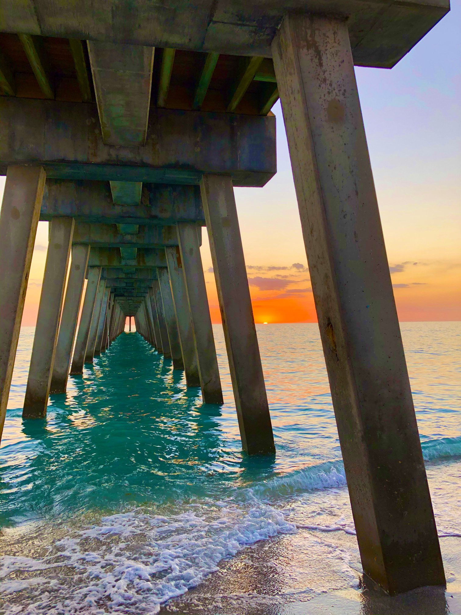 Venice Fishing Pier Orange Sunset